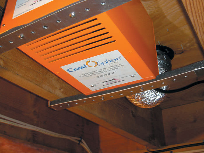 Crawl space fan system to ventilate a crawl space in utica syracuse view of our crawl space ventilation fan installed with metal bracing on a floor tyukafo