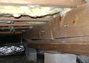 sagging crawl space with wooden shimming a Knoxboro crawl space