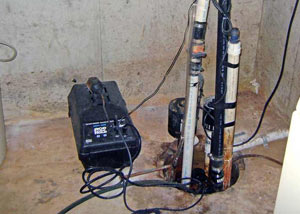 Pedestal sump pump system installed in a home in Manlius