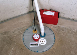 A sump pump system with a battery backup system installed in Clinton