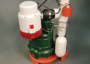 A cast-iron Zoeller® sump pump with battery backup and pump stand