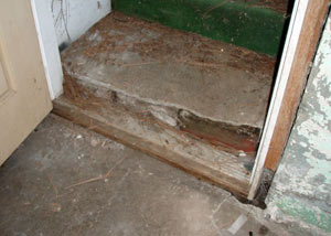 A flooded basement in Whitesboro where water entered through the hatchway door