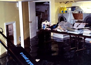 A laundry room flood in Knoxboro, with several feet of water flooded in.