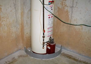 A water heater in Skaneanteles that's been protected by the FloodRing® and a perimeter drain system.