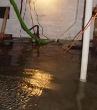 Several feet of floodwaters in a Jamesville basement