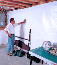 Plastic 20-mil vapor barrier for dirt basements, Jamesville, New York installation
