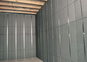 SilverGlo™ insulation and metal studs making up our Basement to Beautiful panels.  Installed in Auburn.